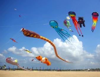 Colourful kites on the beach