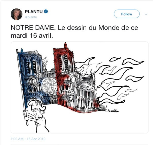 PLANTU on Twitter: NOTRE DAME. Le dessin du Monde de ce mardi 16 avril.…