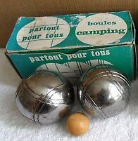 Vintage-Retro-Two-Sets-of-Two-Chrome-Metal-Boules